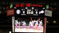 View of scoreboard with TLOC dancers